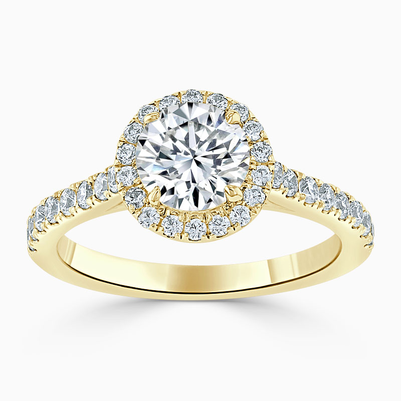 18ct Yellow Gold Round Brilliant Classic Wedfit Halo Engagement Ring