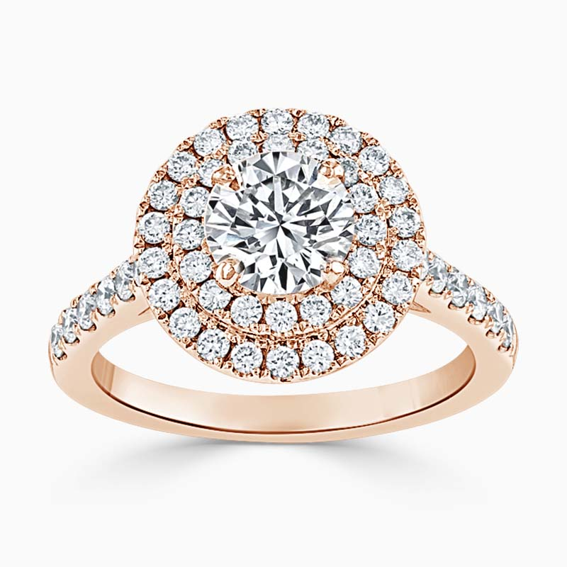 18ct Rose Gold Round Brilliant Classic Double Halo Engagement Ring