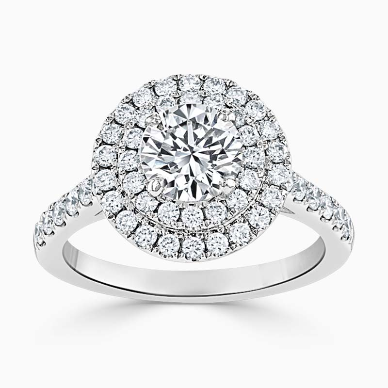 18ct White Gold Round Brilliant Classic Double Halo Engagement Ring