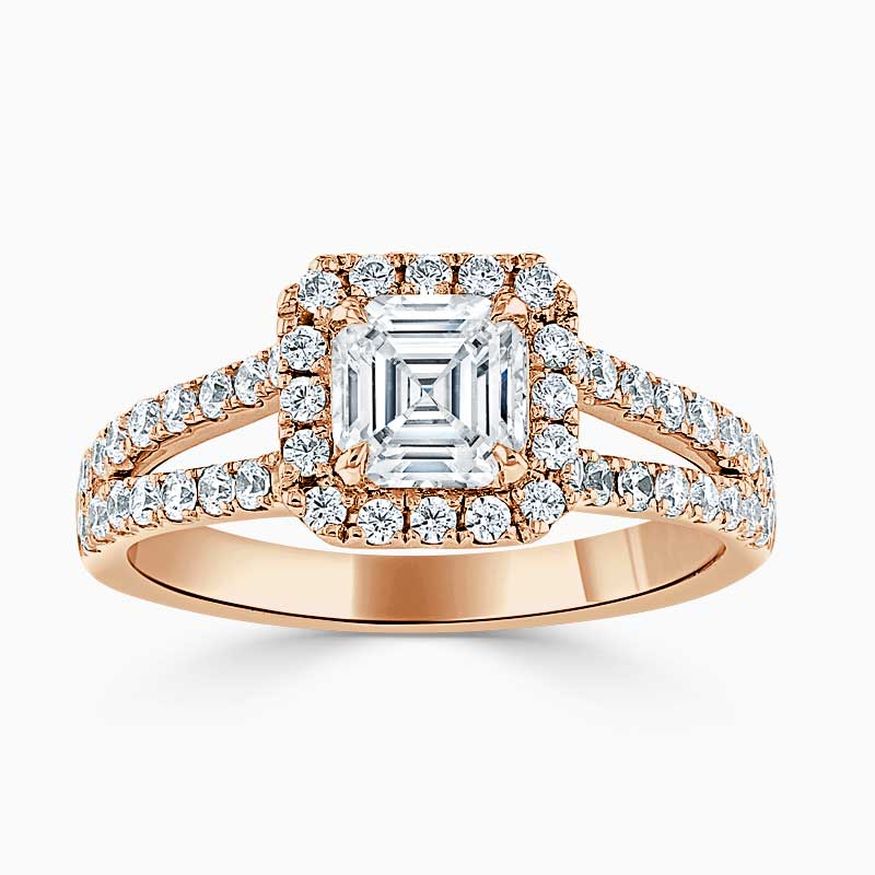 18ct Rose Gold Asscher Cut Split Shoulder Halo Engagement Ring