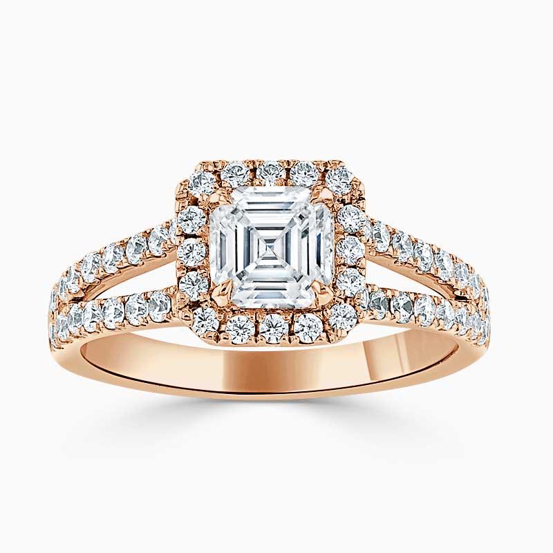 18ct Rose Gold Asscher Cut Split Shoulder Halo Engagement Ring