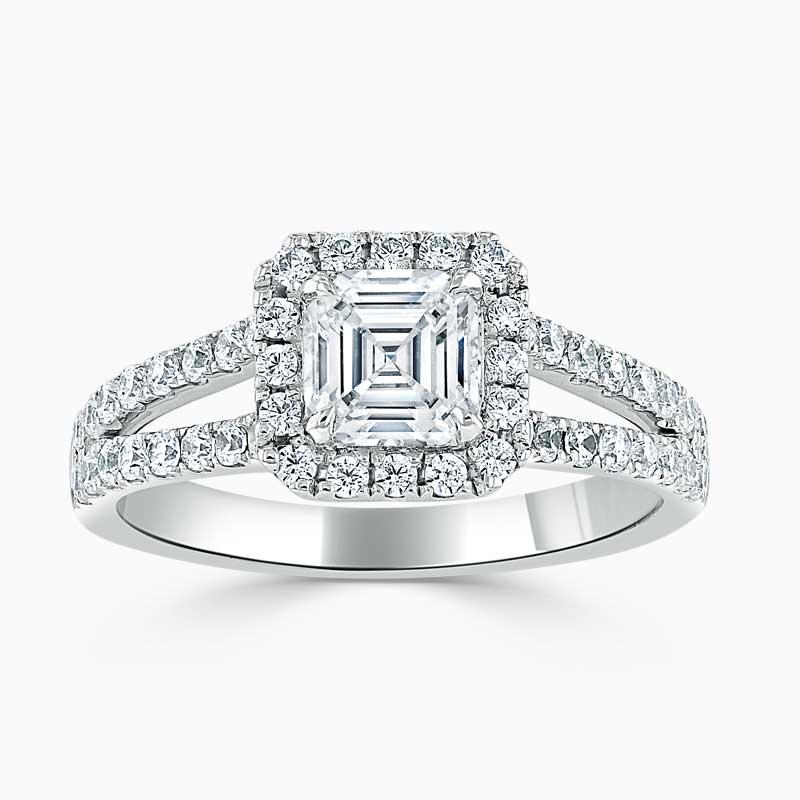18ct White Gold Asscher Cut Split Shoulder Halo Engagement Ring