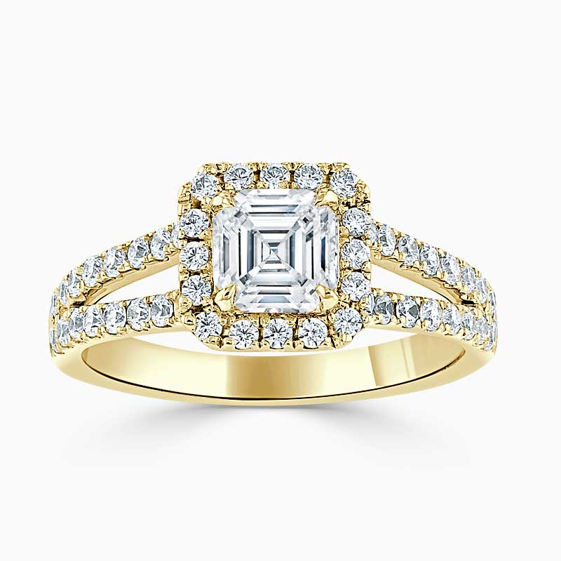 18ct Yellow Gold Asscher Cut Split Shoulder Halo Engagement Ring