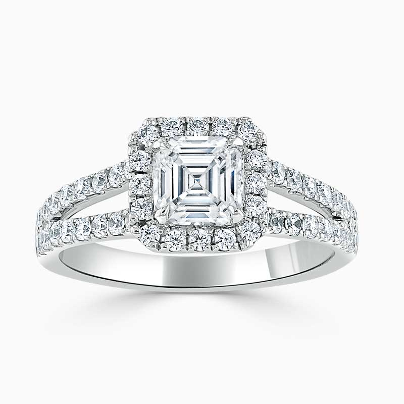 Platinum Asscher Cut Split Shoulder Halo Engagement Ring