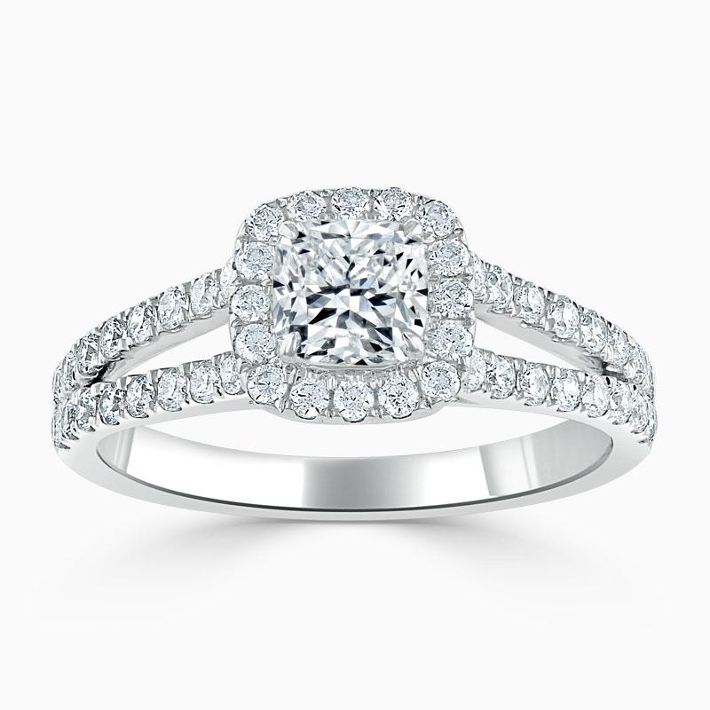 18ct White Gold Cushion Cut Split Shoulder Halo Engagement Ring