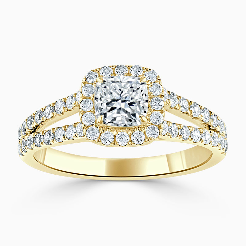 18ct Yellow Gold Cushion Cut Split Shoulder Halo Engagement Ring
