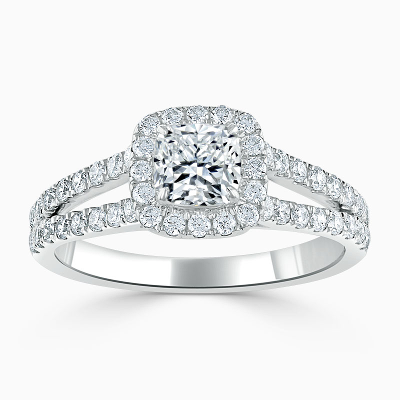 Platinum Cushion Cut Split Shoulder Halo Engagement Ring