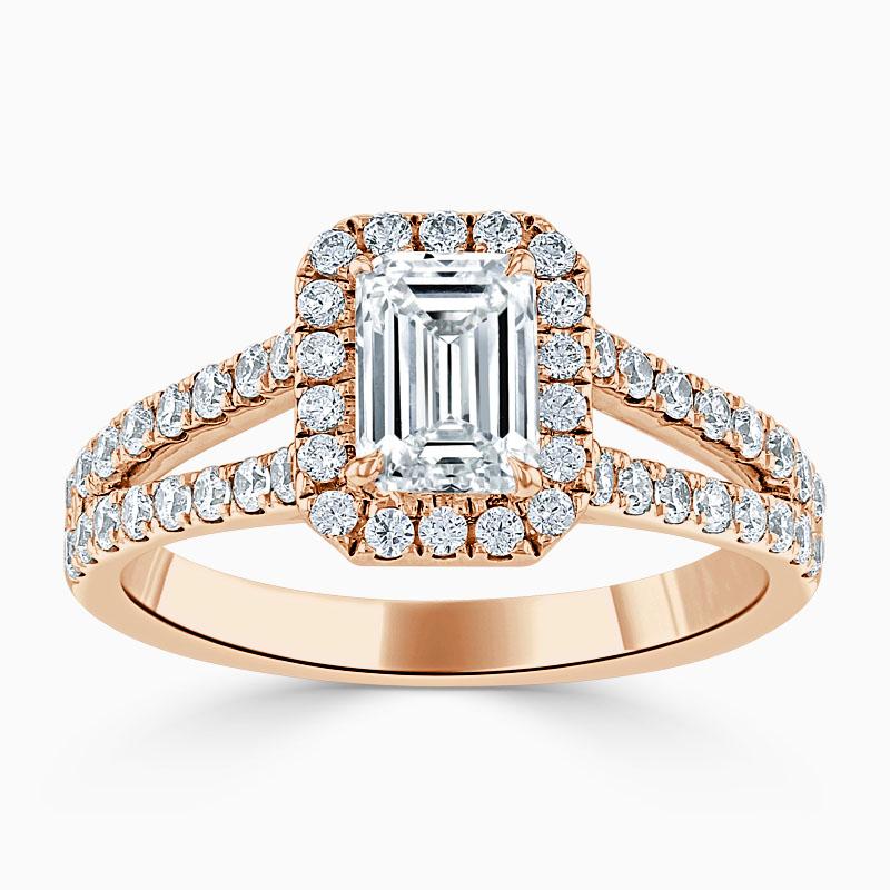 18ct Rose Gold Emerald Cut Split Shoulder Halo Engagement Ring