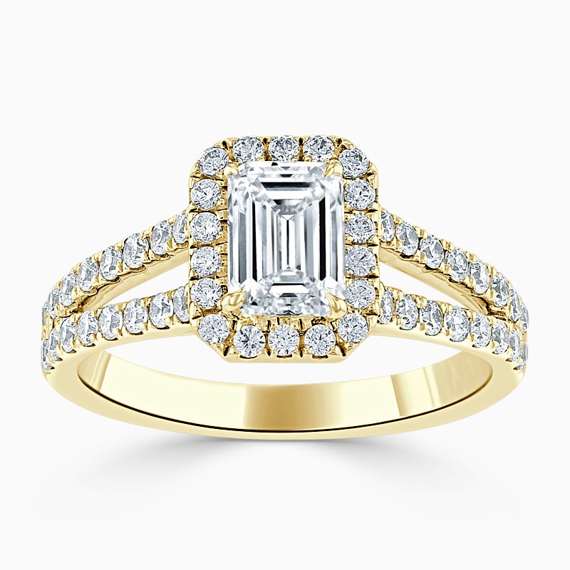 18ct Yellow Gold Emerald Cut Split Shoulder Halo Engagement Ring