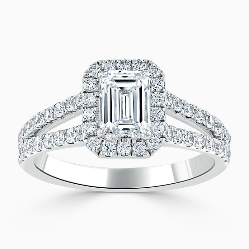 Platinum Emerald Cut Split Shoulder Halo Engagement Ring