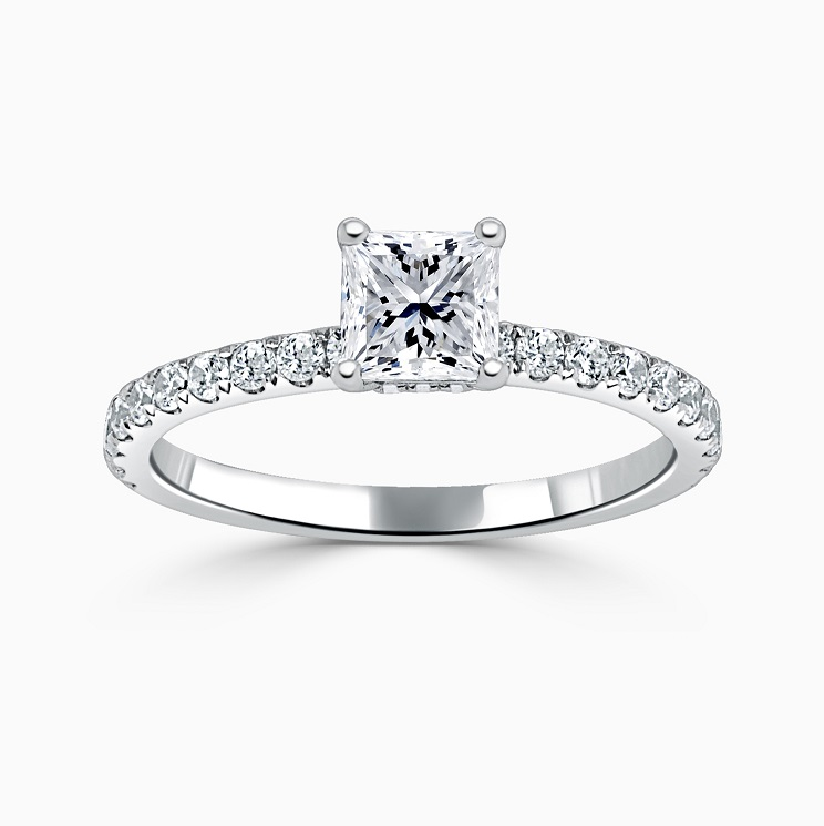 18ct White Gold Princess Cut Hidden Halo With Cutdown Engagement Ring