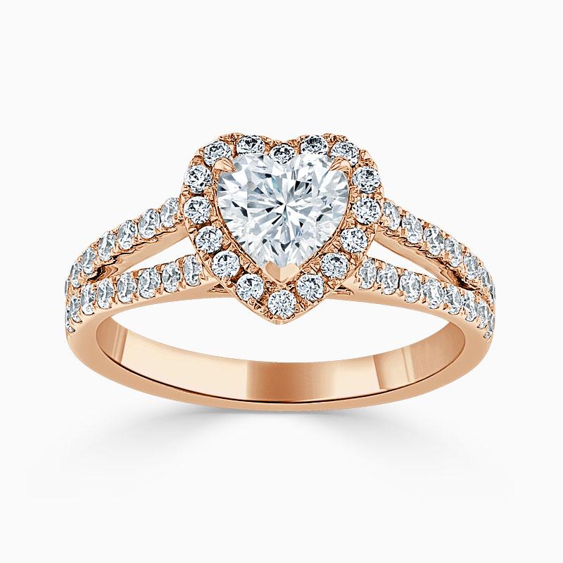 18ct Rose Gold Heart Shape Split Shoulder Halo Engagement Ring