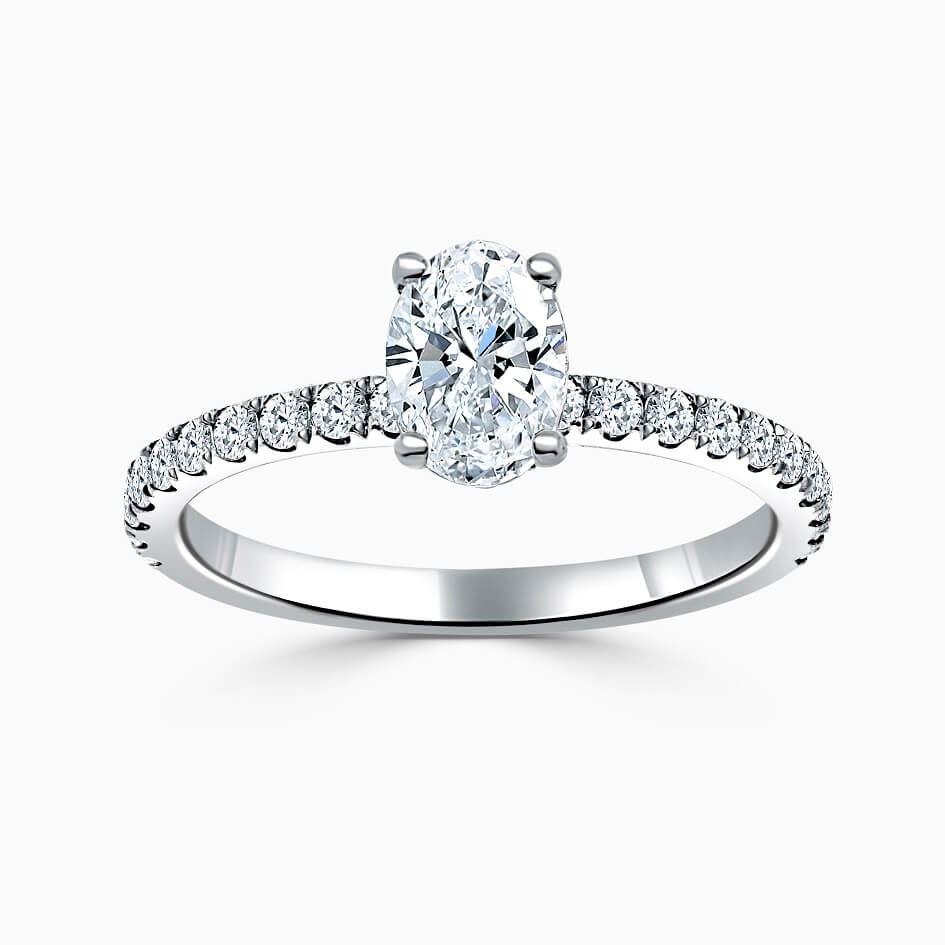 18ct White Gold Oval Shape Hidden Halo With Cutdown Engagement Ring
