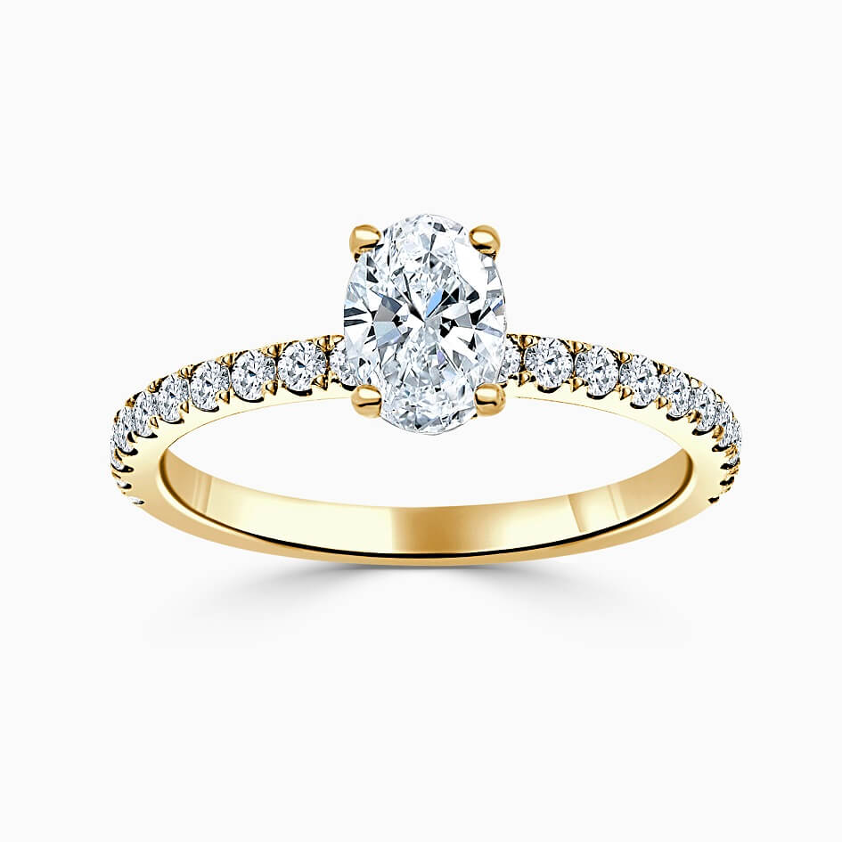 18ct Yellow Gold Oval Shape Hidden Halo With Cutdown Engagement Ring