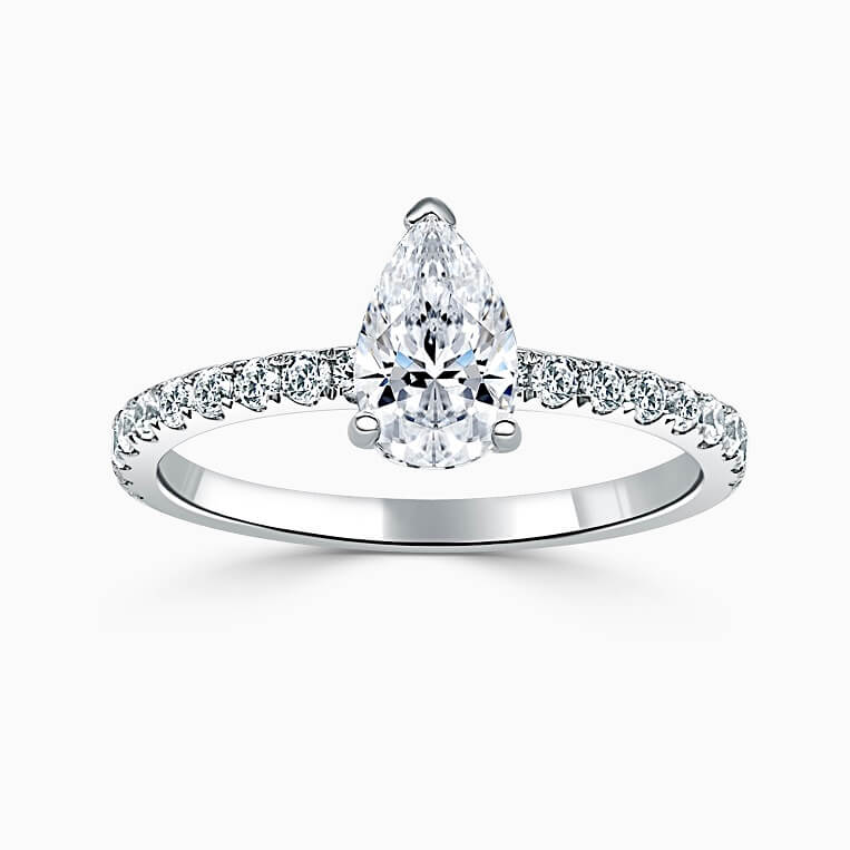 18ct White Gold Pear Shape Hidden Halo With Cutdown Engagement Ring