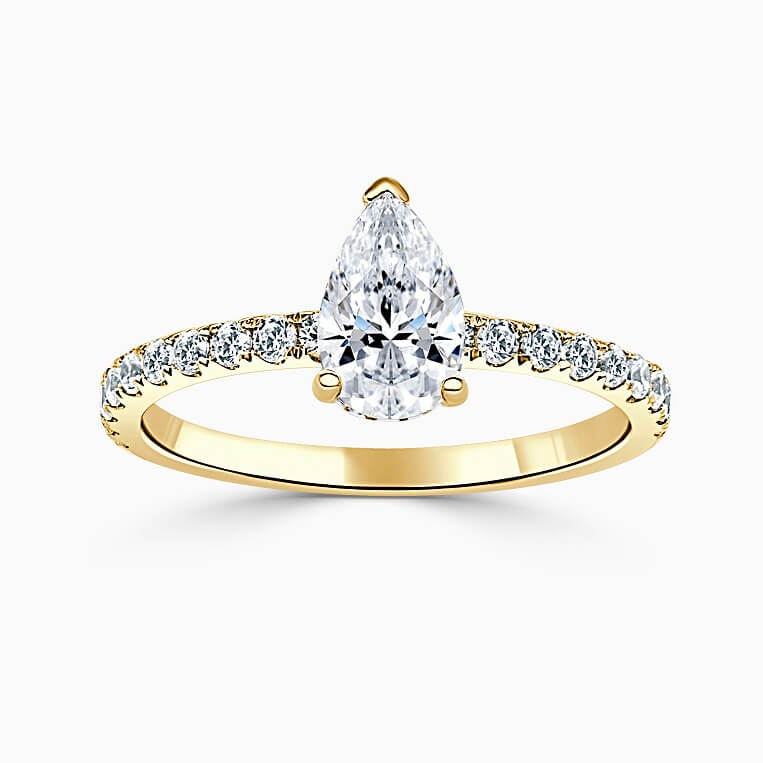 18ct Yellow Gold Pear Shape Hidden Halo With Cutdown Engagement Ring
