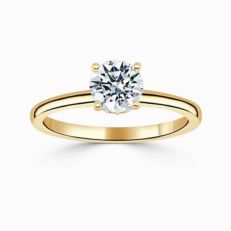 18ct Yellow Gold Round Brilliant Hidden Halo Engagement Ring
