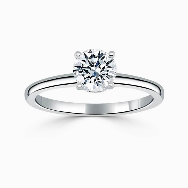 Platinum Round Brilliant Hidden Halo Engagement Ring