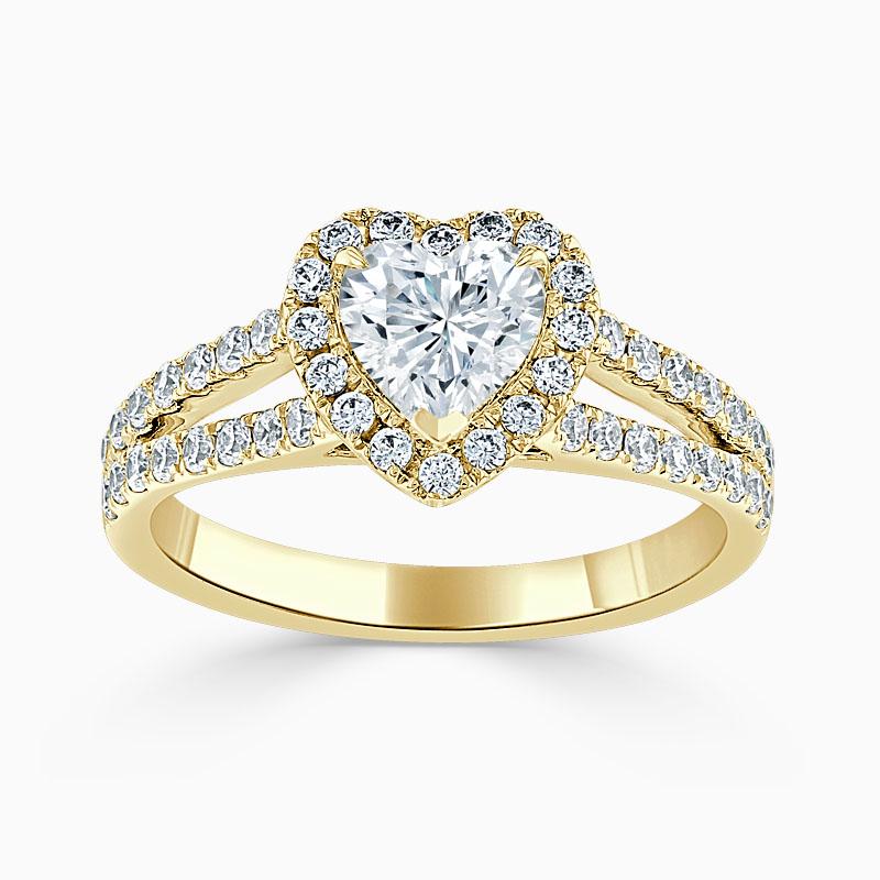 18ct Yellow Gold Heart Shape Split Shoulder Halo Engagement Ring