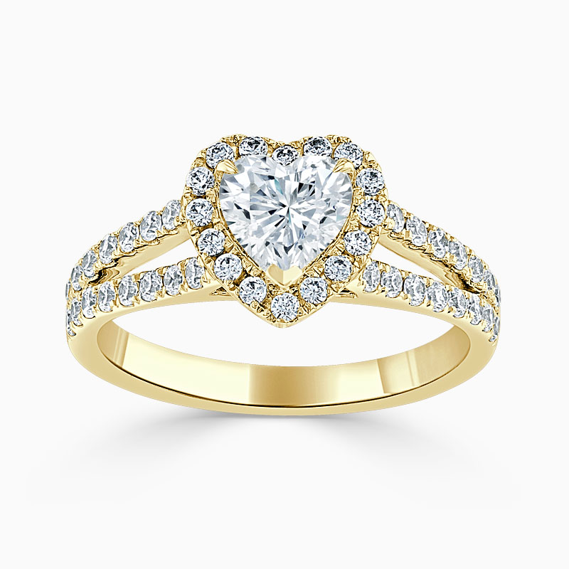 18ct Yellow Gold Heart Shape Split Shoulder Halo Engagement Ring
