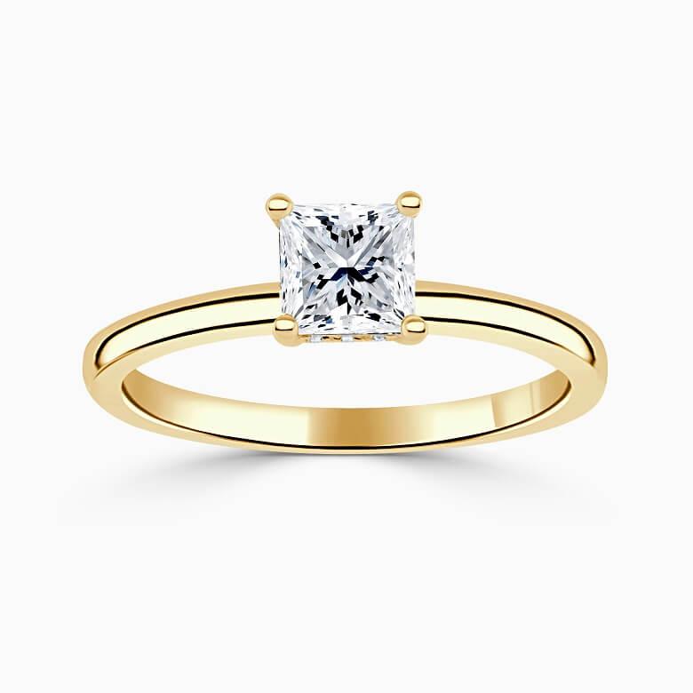 18ct Yellow Gold Princess Cut Hidden Halo Engagement Ring