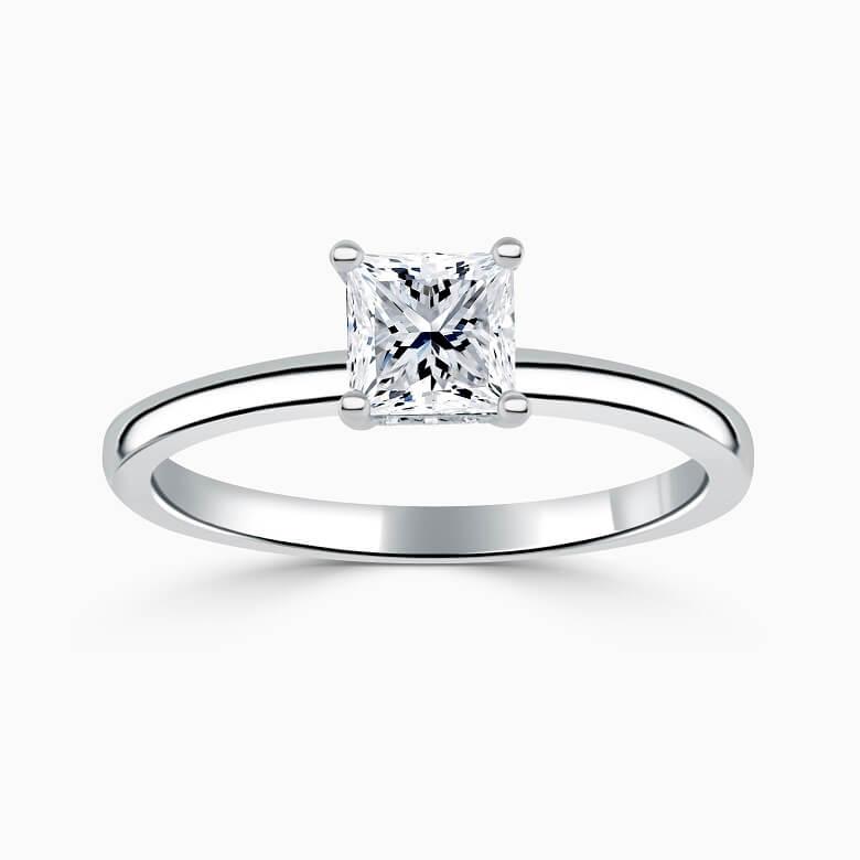 Platinum Princess Cut Hidden Halo Engagement Ring