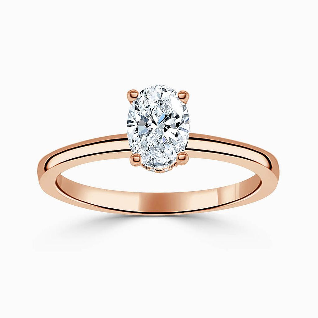 18ct Rose Gold Oval Shape Hidden Halo Engagement Ring