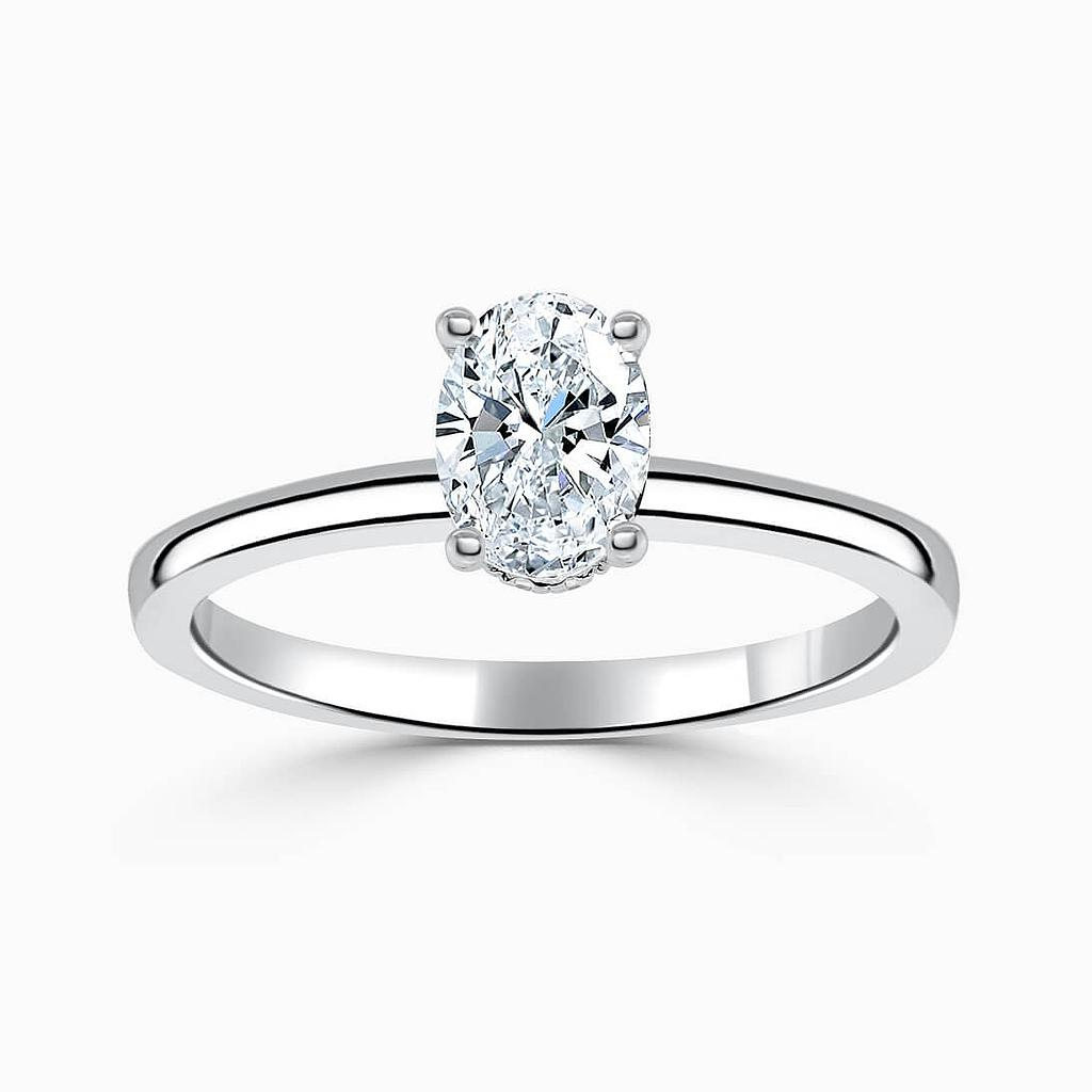 Platinum Oval Shape Hidden Halo Engagement Ring
