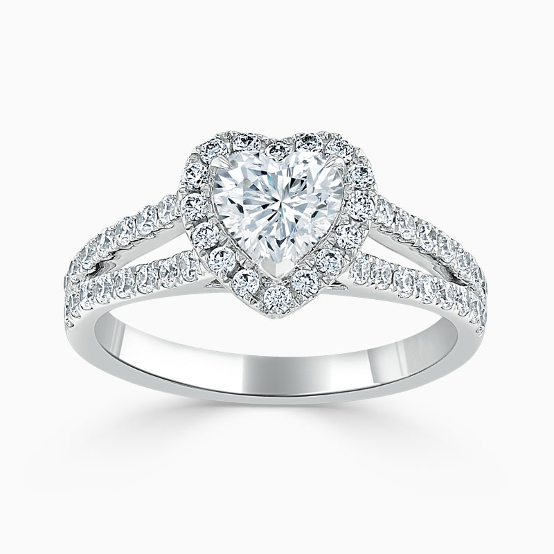 Platinum Heart Shape Split Shoulder Halo Engagement Ring