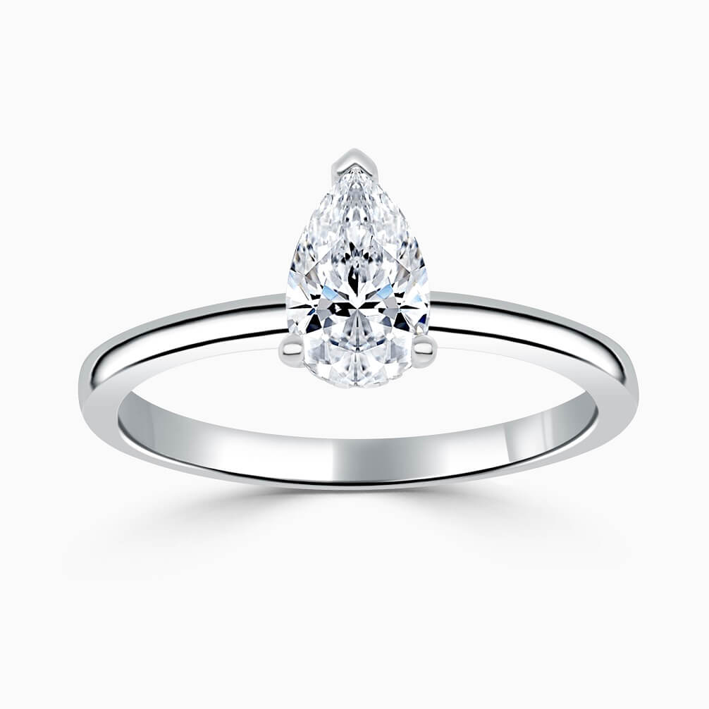 18ct White Gold Pear Shape Hidden Halo Engagement Ring