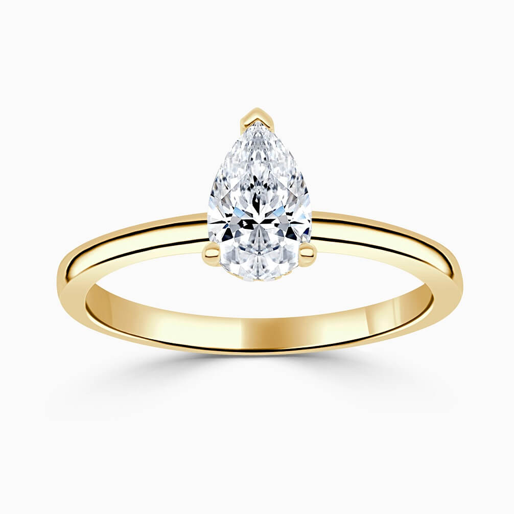 18ct Yellow Gold Pear Shape Hidden Halo Engagement Ring