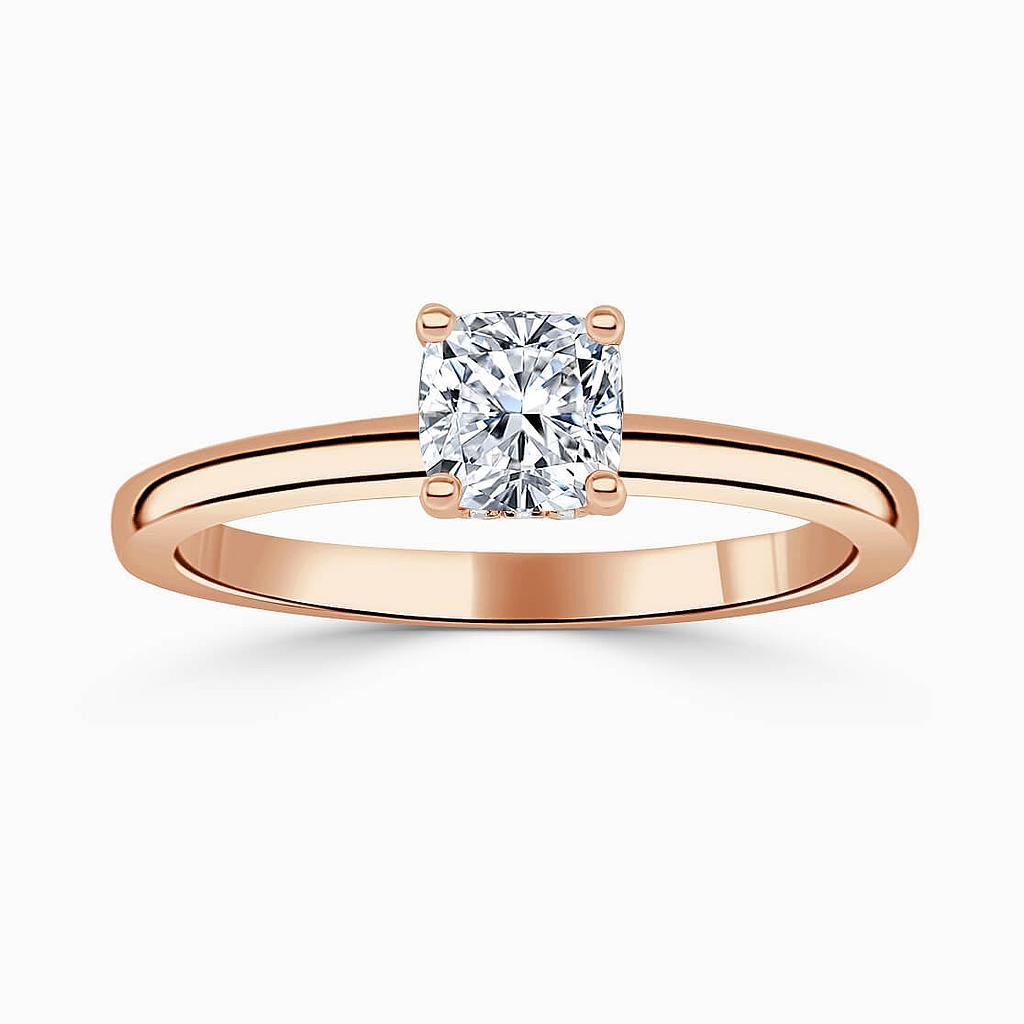 18ct Rose Gold Cushion Cut Hidden Halo Engagement Ring