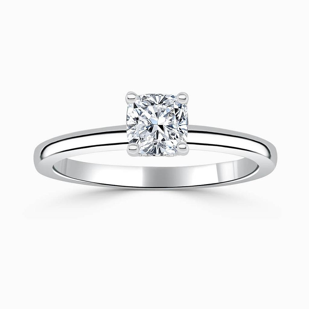 18ct White Gold Cushion Cut Hidden Halo Engagement Ring