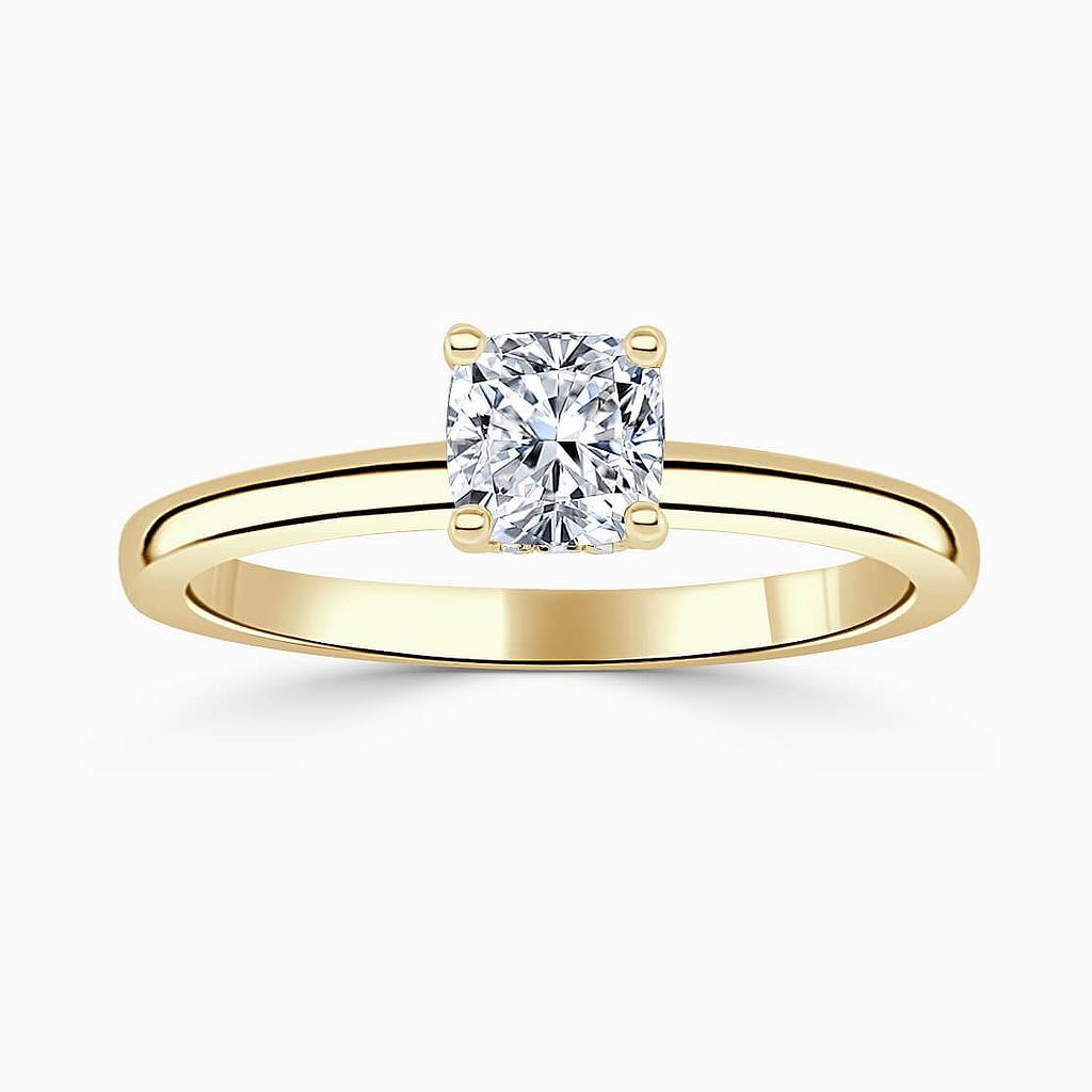 18ct Yellow Gold Cushion Cut Hidden Halo Engagement Ring