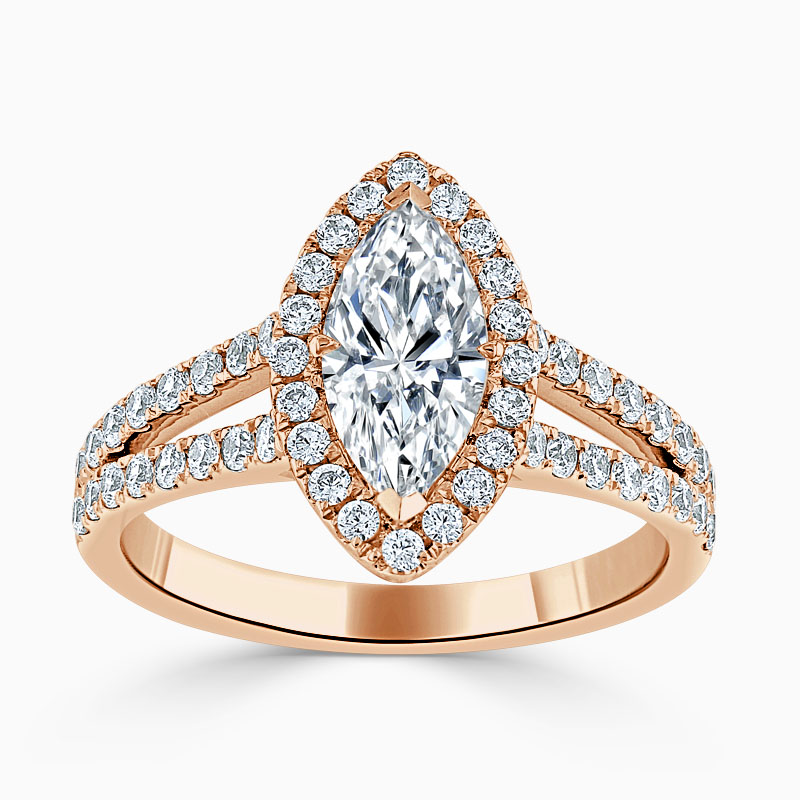 18ct Rose Gold Marquise Cut Split Shoulder Halo Engagement Ring