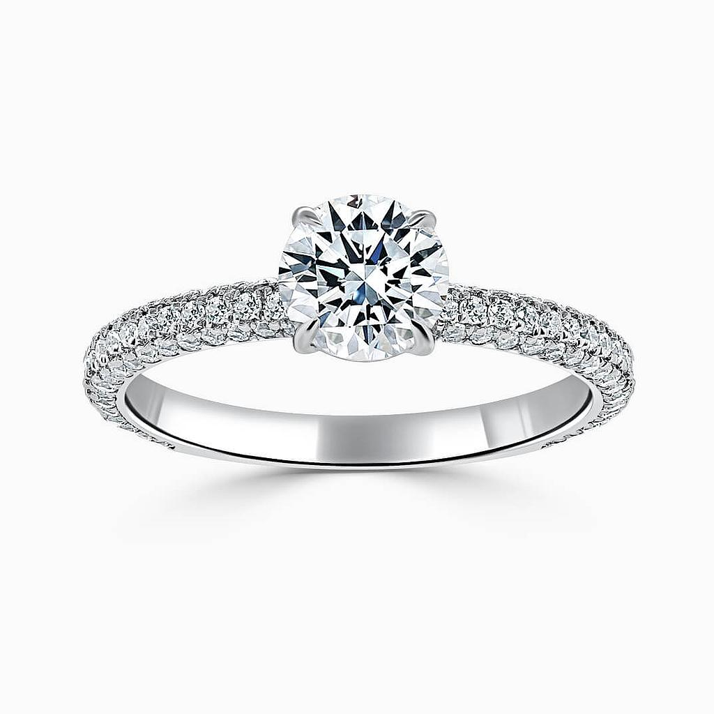 18ct White Gold Round Brilliant With Micro Pave Engagement Ring