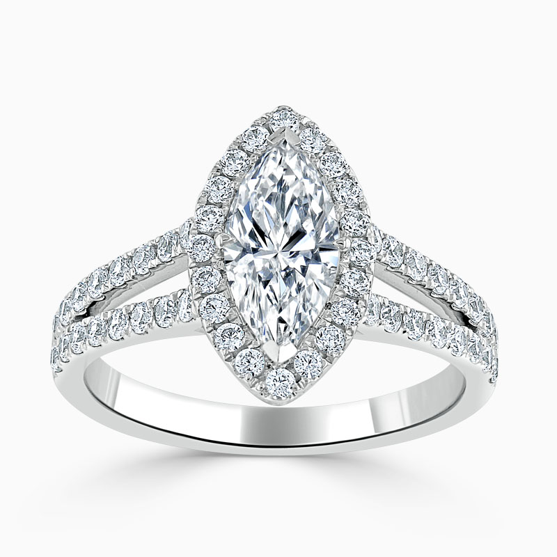 18ct White Gold Marquise Cut Split Shoulder Halo Engagement Ring