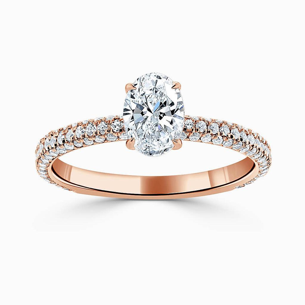 18ct Rose Gold Oval Shape With Micro Pave Engagement Ring