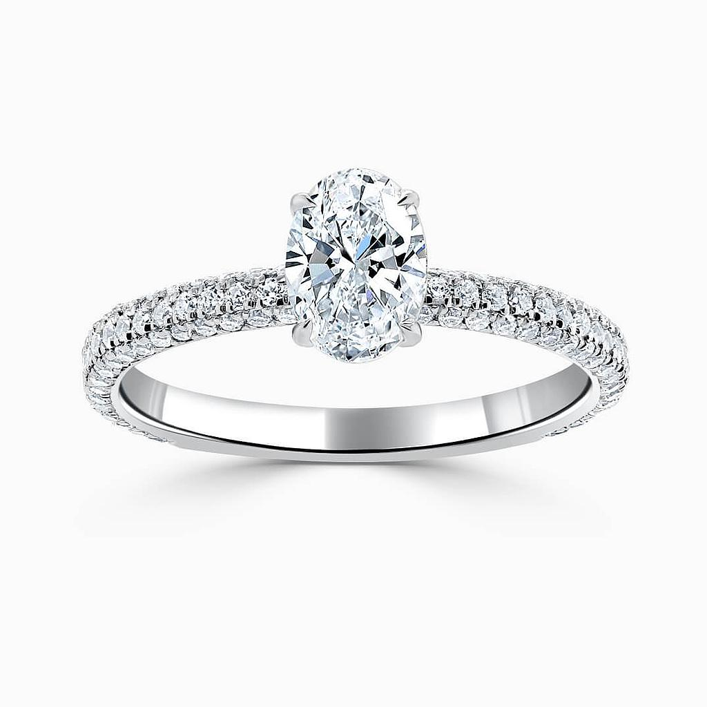 18ct White Gold Oval Shape With Micro Pave Engagement Ring