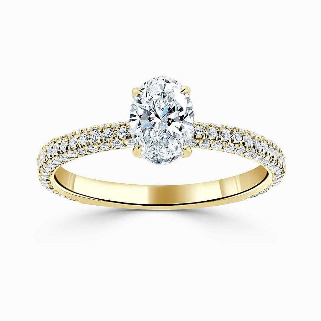 18ct Yellow Gold Oval Shape With Micro Pave Engagement Ring
