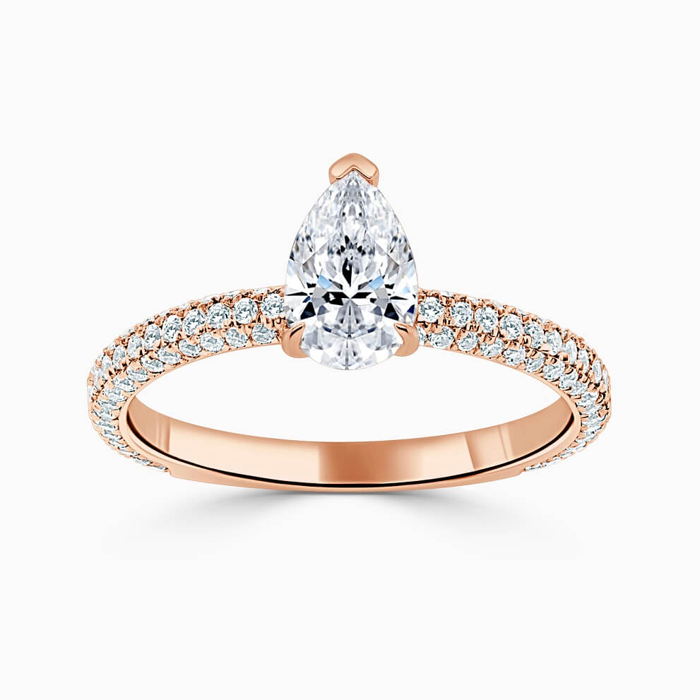 18ct Rose Gold Pear Shape With Micro Pave Engagement Ring