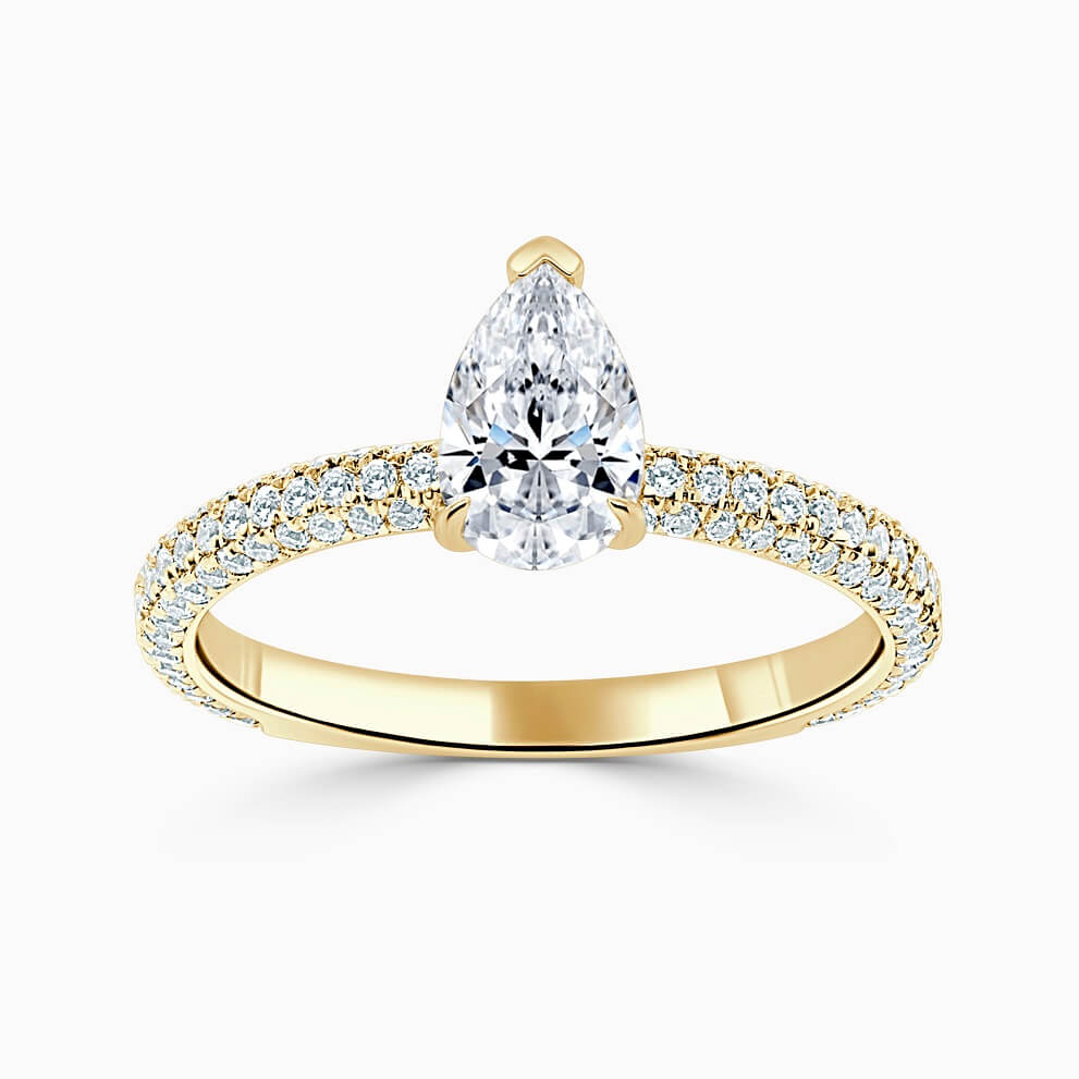 18ct Yellow Gold Pear Shape With Micro Pave Engagement Ring
