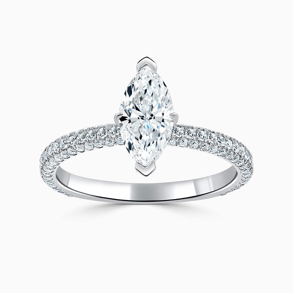 18ct White Gold Marquise Cut With Micro Pave Engagement Ring
