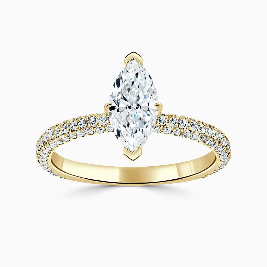 18ct Yellow Gold Marquise Cut With Micro Pave Engagement Ring