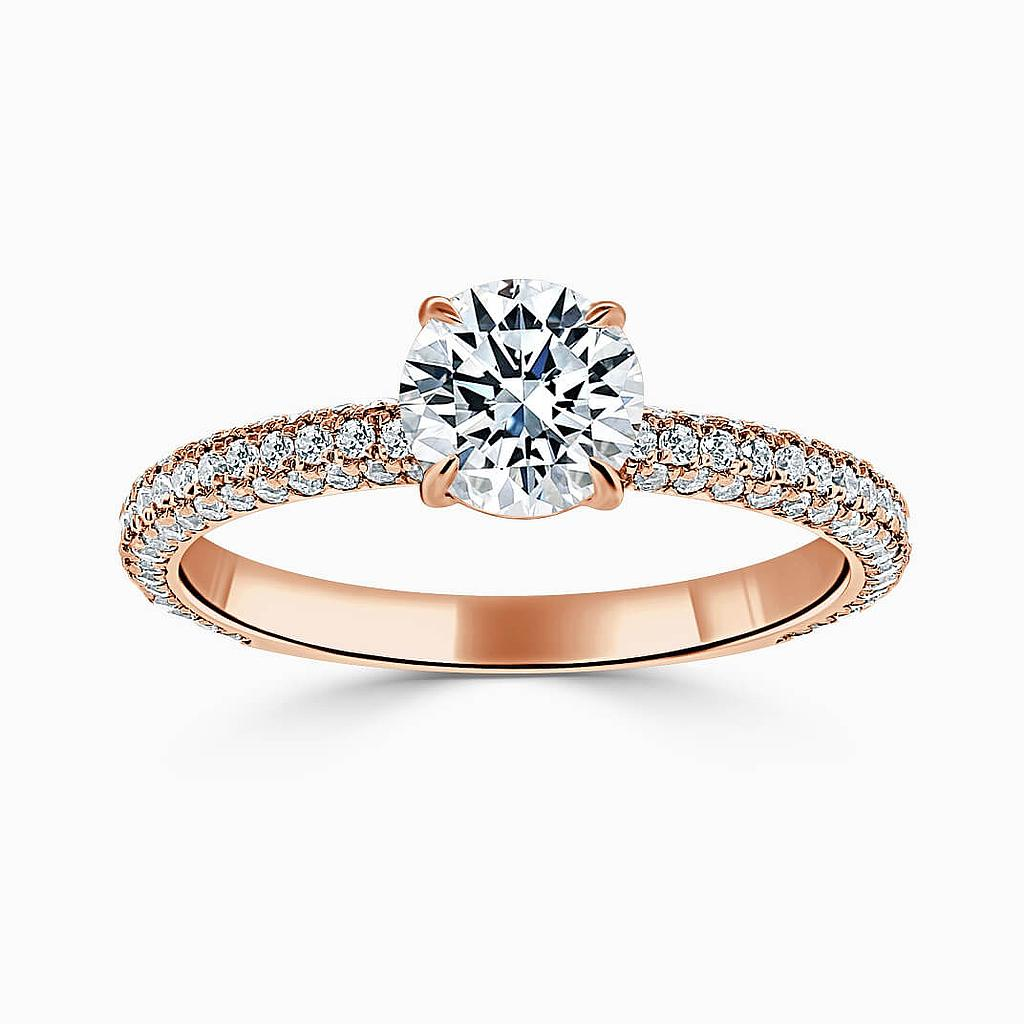 18ct Rose Gold Emerald Cut With Micro Pave Engagement Ring