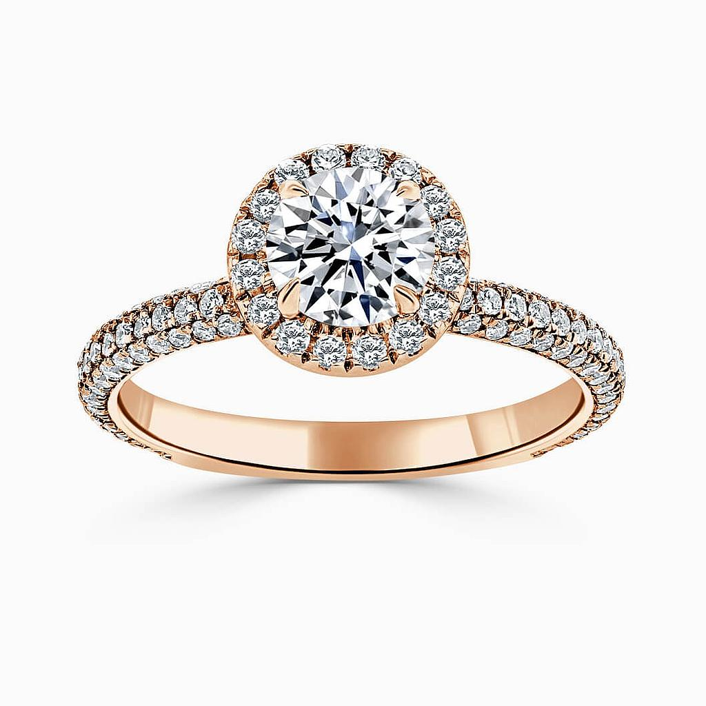 18ct Rose Gold Round Brilliant Halo With Micro Pave Engagement Ring