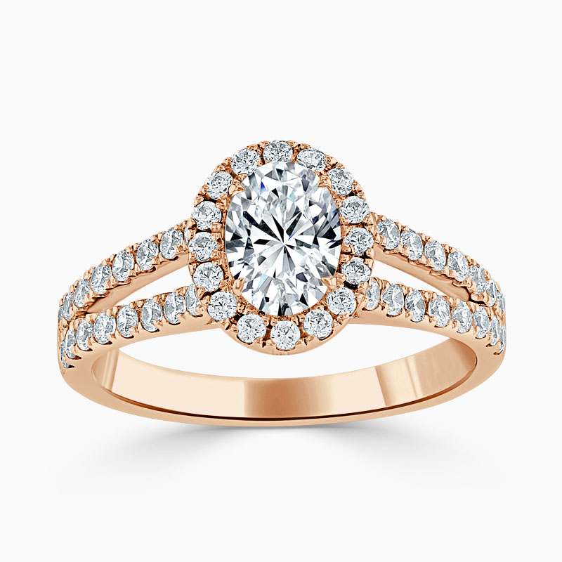18ct Rose Gold Oval Shape Split Shoulder Halo Engagement Ring