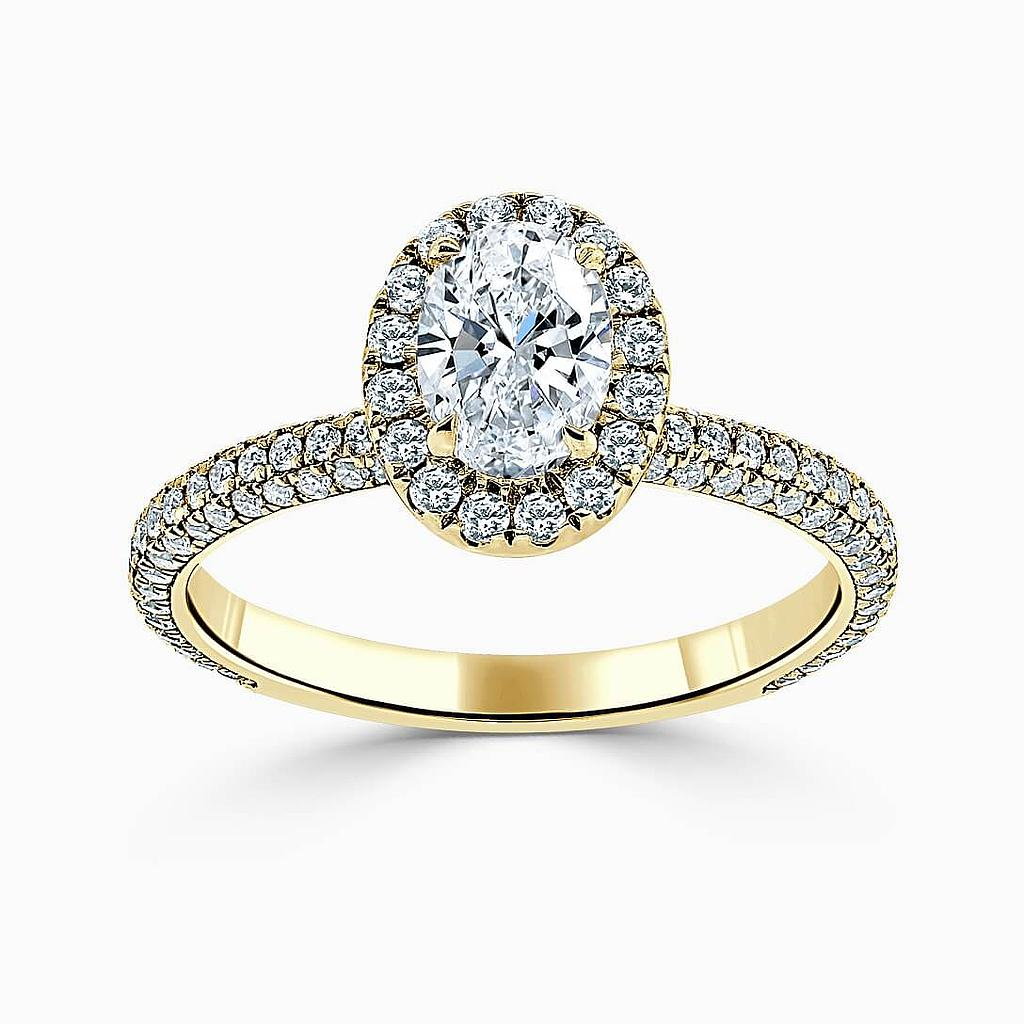 18ct Yellow Gold Oval Shape Halo With Micro Pave Engagement Ring