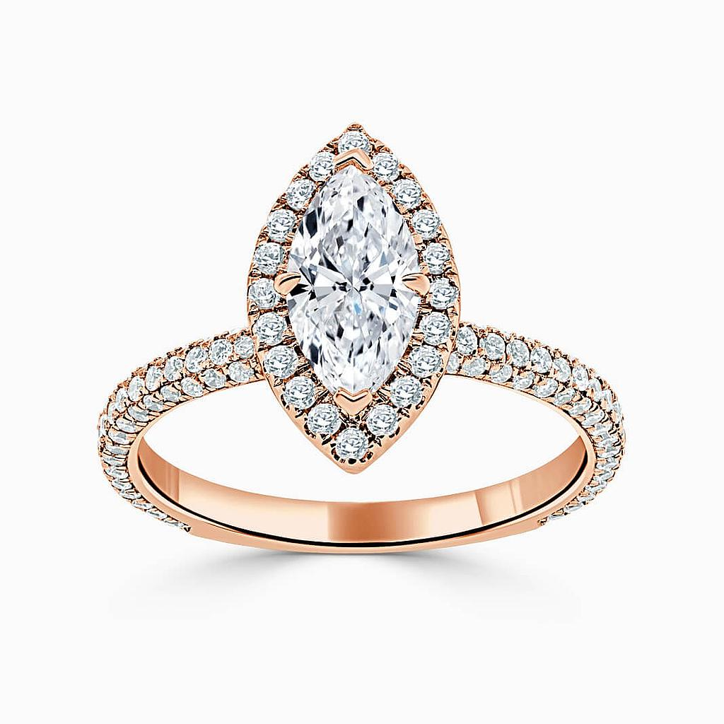 18ct Rose Gold Marquise Cut Halo With Micro Pave Engagement Ring
