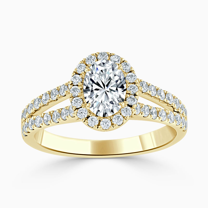 18ct Yellow Gold Oval Shape Split Shoulder Halo Engagement Ring